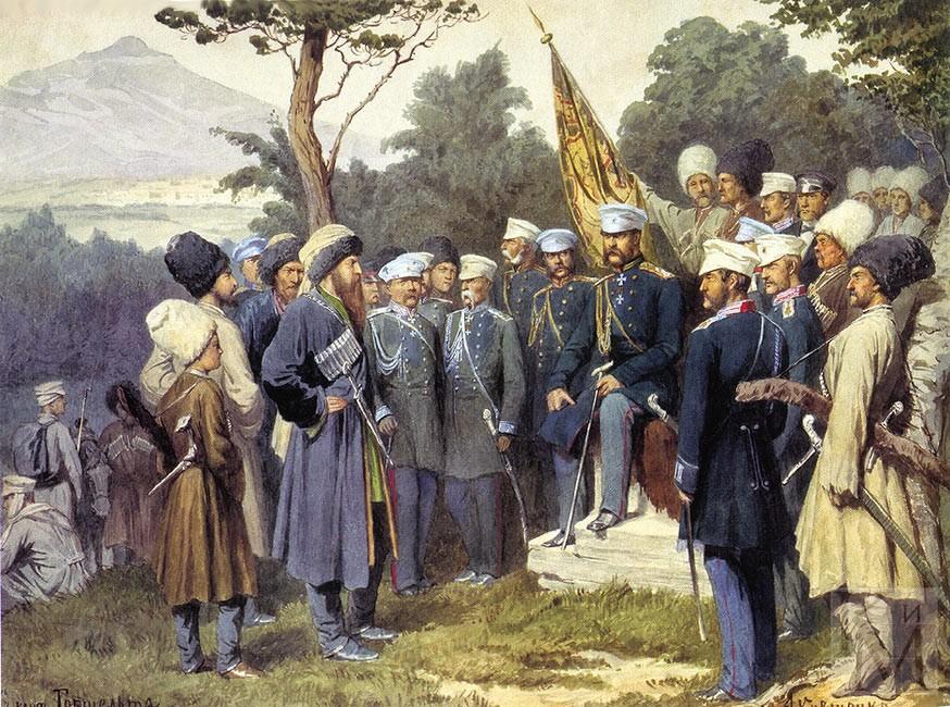 Imam_Shamil_surrendered_to_Count_Baryatinsky_on_August_25,_1859_by_Kivshenko,_Alexei_Danilovich